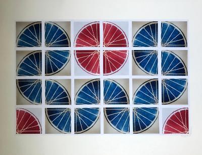 24 Freewheelin' TWENTY FOUR (red/blue 4x6 squares)