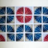 24 Freewheelin' TWENTY FOUR (red/blue 4x6 squares), Benton
