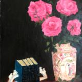 Chinese Vase (with roses and books) 16x12