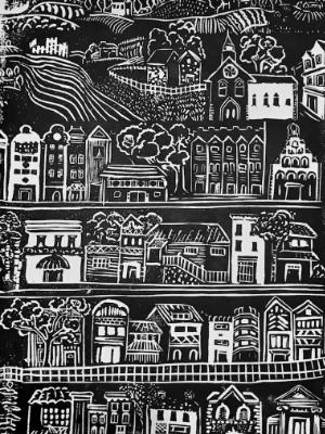 On the street where you live  linocut