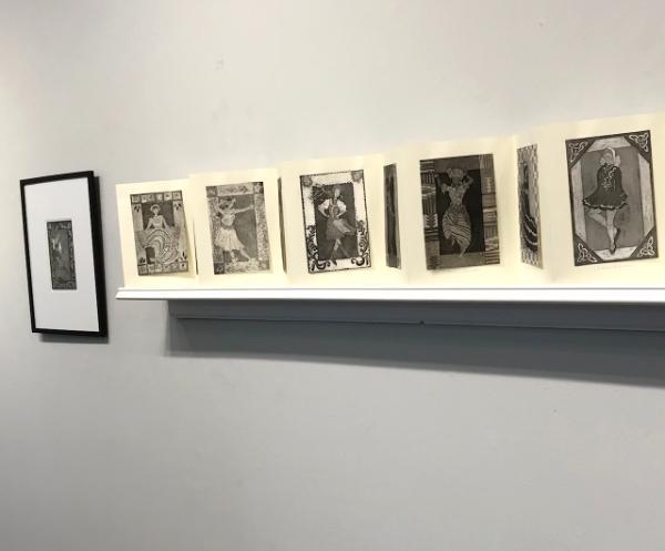 Book on shelf: Female dancers + framed dancer