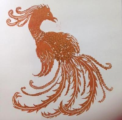 Firebird 2 lino-cut