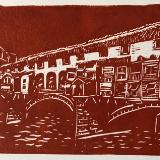 Ponte Vecchio (dark sky) linocut