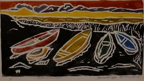 *Boats at Sunset, white-line linocut