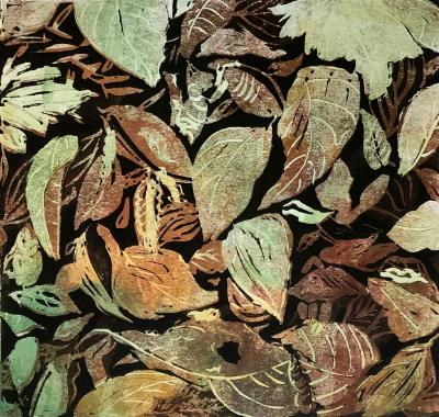 autumn Leaves reduction linocut