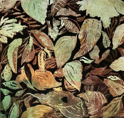 Leaf Layers reduction linocut