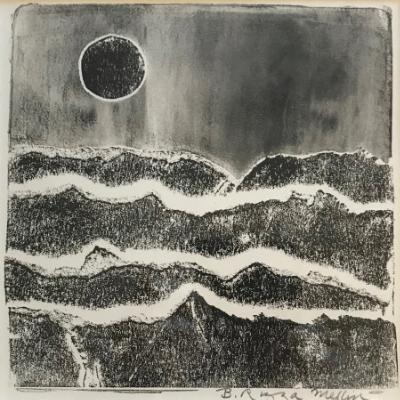 Dark Moon 12x12 monotype (gelatin stencil)
