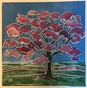 Tree/Spring  white line lino-cut print