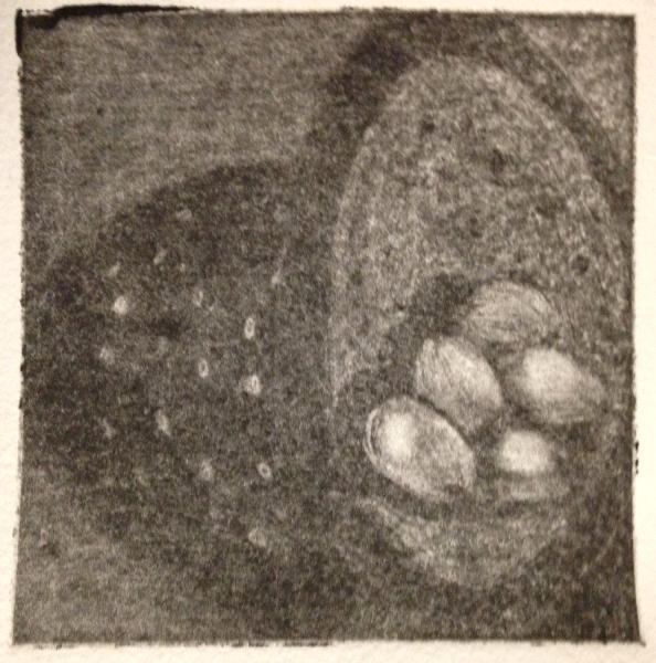 *Eggs, Colander, Shadow Mezzotint