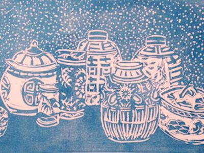 *Blue and White, linocut