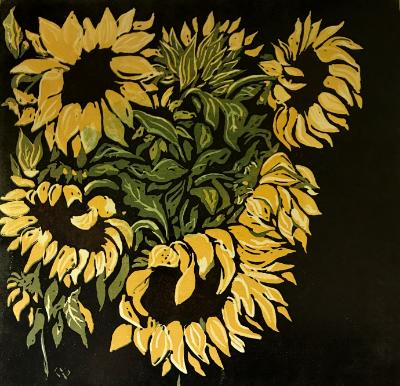 Sunflowers 6-color reduction print.