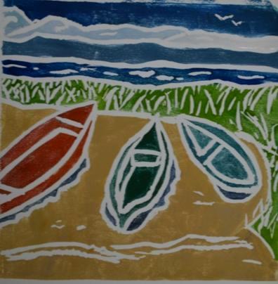 *Three Boats, white-line lino print, (sold)