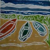 *Three Boats, white-line lino print, (sold)