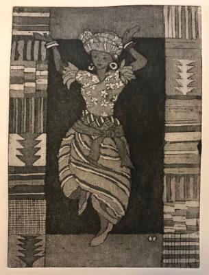 9 Ladies Dancing: African: Nigerian Dancer with Kente Cloth (Ghana) border