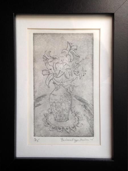 Lily Vase, etching, drypoint