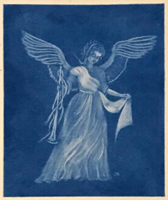 Angel with Horn (blue)