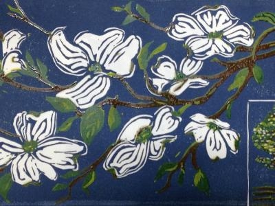 *Dogwood branch (four-color reduction print)