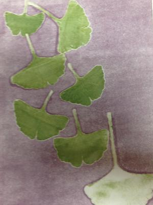 Leaf Series: Natural leader/Gingko monotype collagraph