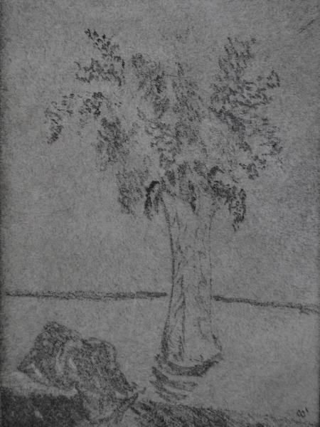 Lilacs, rotary etching and dry point on zinc plate