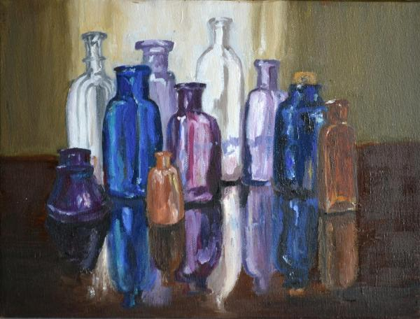 """Bottles/Reflections 9""""x12""""(sold)"""