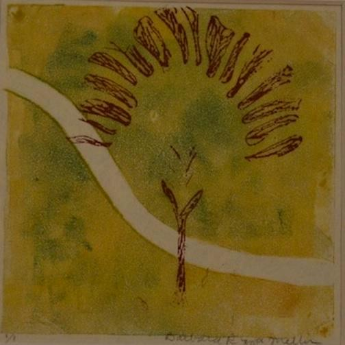 Two Roads/ 1 of diptych, monotype (with antique Indonesian batik tjap)