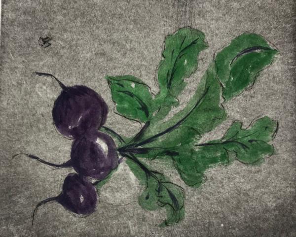 Garden Series: Fresh beets  drypoint