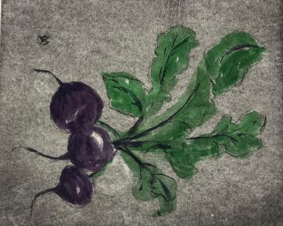 Garden Series: Fresh beets  drypoint