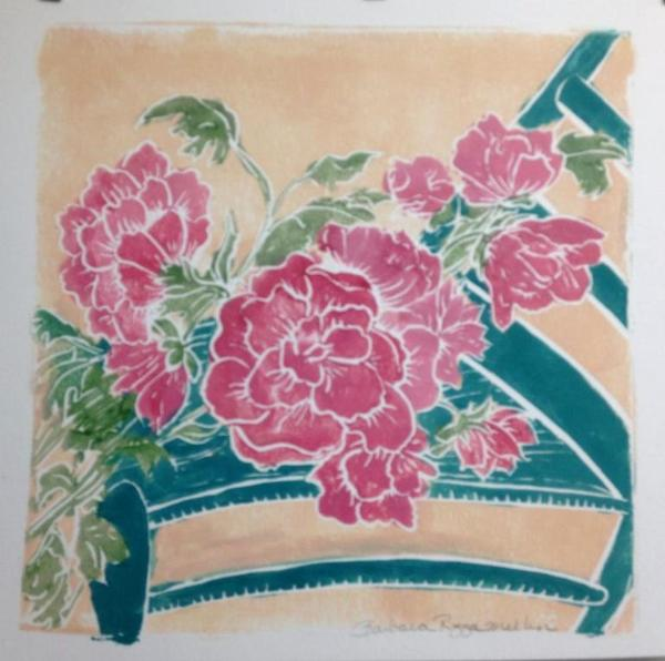 Renata's Peonies hand-colored, white-line lino cut (edition still available)