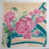 Renata's Peonies hand-colored, white-line lino cut