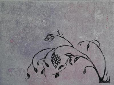 Spring Promise lino cut on monotype (sold)