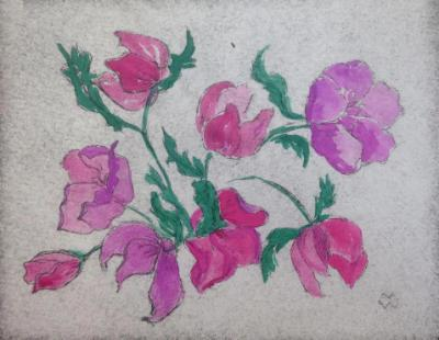 *Hellebores hand-colored dry point