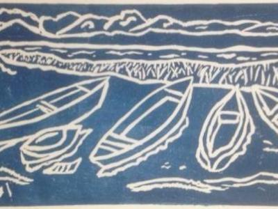*Boats by the Bay (mono/blue)  Sold