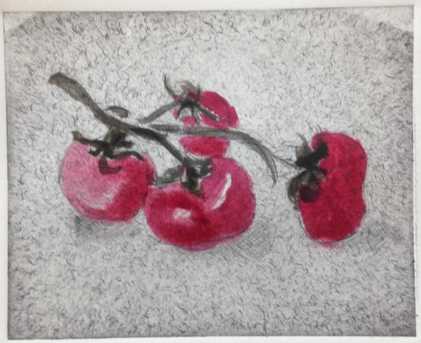 *Garden Series: Tomatoes (hand-colored drypoint)
