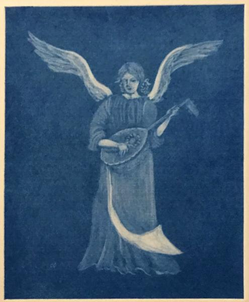 Angel with Lute (blue)