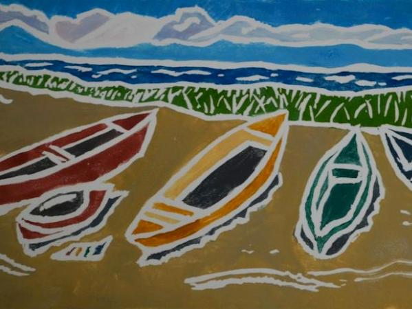 *Boats by the Bay, white-line linocut