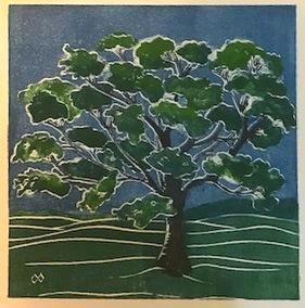 Tree/summer white line lino-cut
