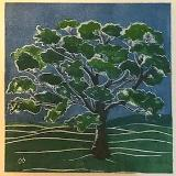 Tree/summer white line lino-cut