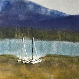 Mountain Lake  Waiting (monoprint/linocut) (sold)