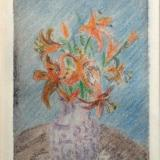 *Lily vase, etching,drypoint,colored pencil