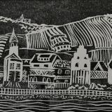 "*Along the Rhine linocut 7""x11"""