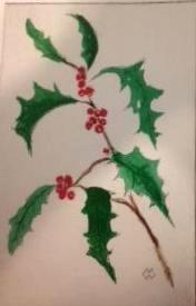 *Winter Series: Holly  drypoint