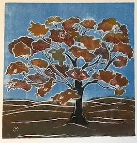 Tree/autumn (brown) white line lino-cut