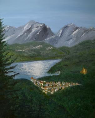 """Austrian Mountain Lake 30""""x24"""" (currently at the Benton Convention Center W-S)"""
