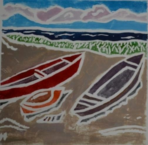 *Two Boats, white-line lino print