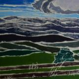 *(Blue Ridge) Mist in the Mountains, white-line woodblock print +