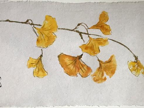 "Golden Gingko (sold) 20x28"""