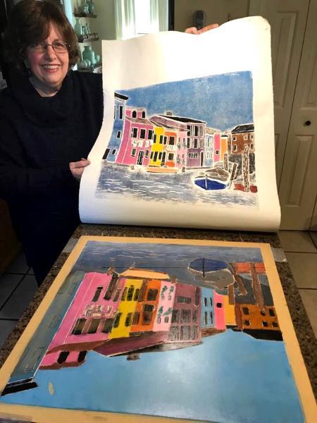 Burano lino print with block