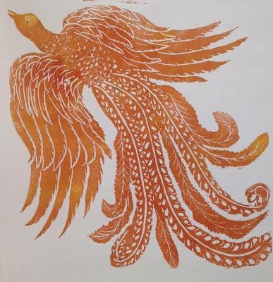 Firebird 1, lino-cut