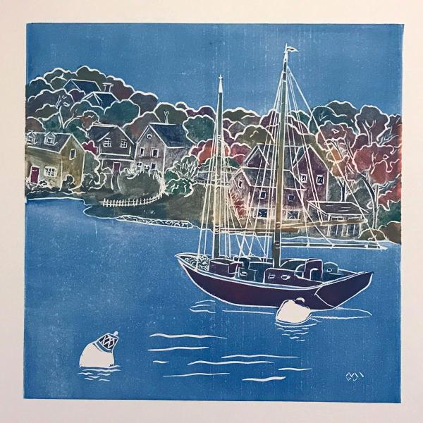 Safe Harbor (autumn)White line lino-cut print