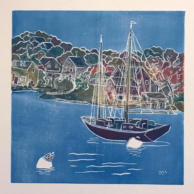 Safe Harbor (autumn)White line lino-cut print
